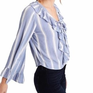 AEO   Ruffle Lace Up Bell Sleeve Top M
